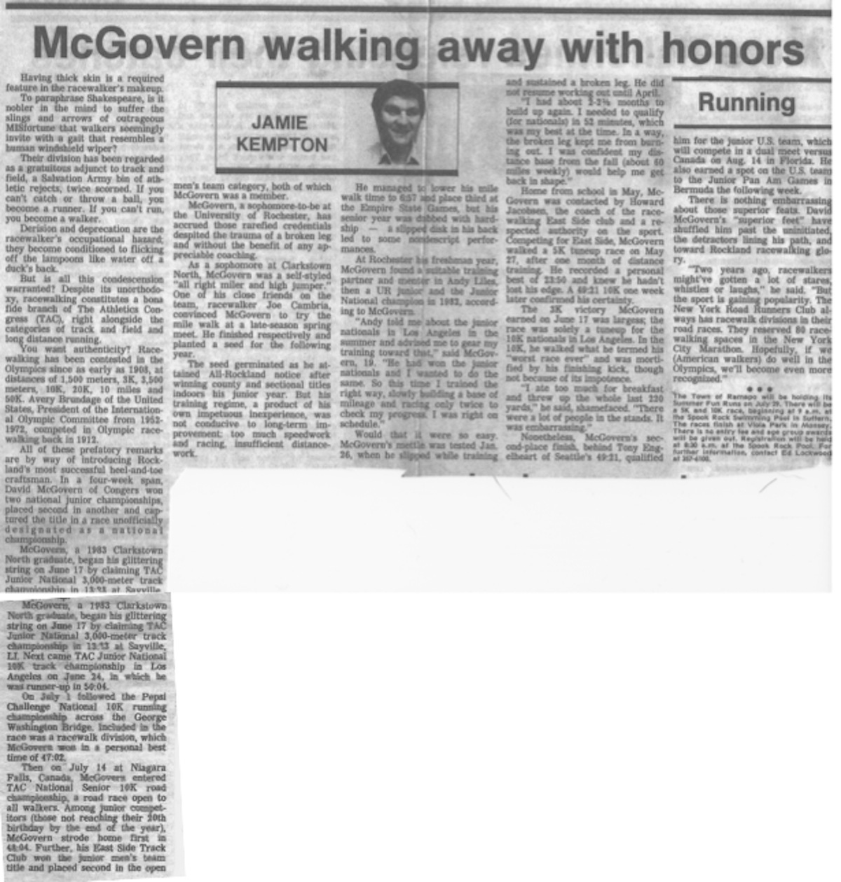 McGovern Walking Away with Honors